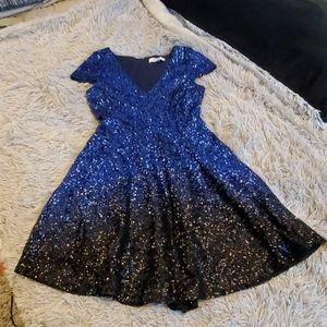 Stunning blue sparkly Badgley mischka dress